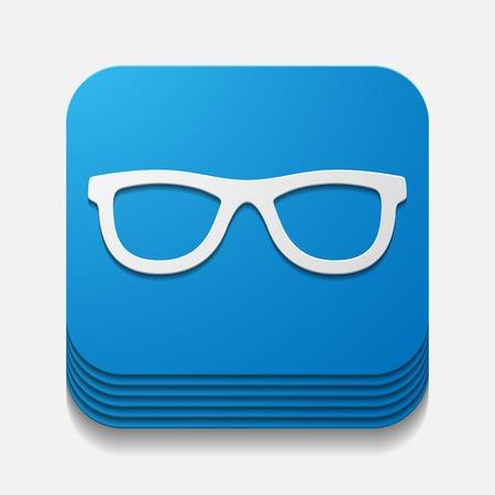myopia: square button: glasses Illustration
