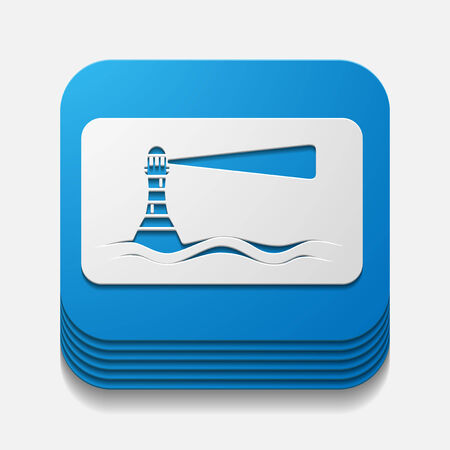 square button: lighthouse Vector
