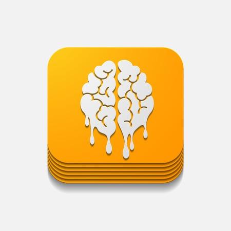 pulsante quadrato: cervello Vettoriali
