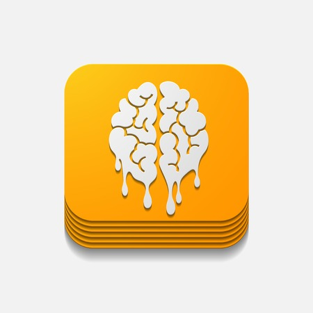 vierkante knop: hersenen Stock Illustratie