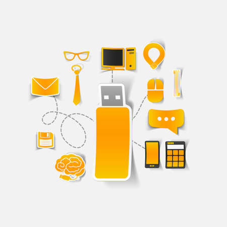 Set of sticker design. High-tech business concept Vector