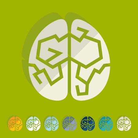 on the comprehension: Flat design: brain