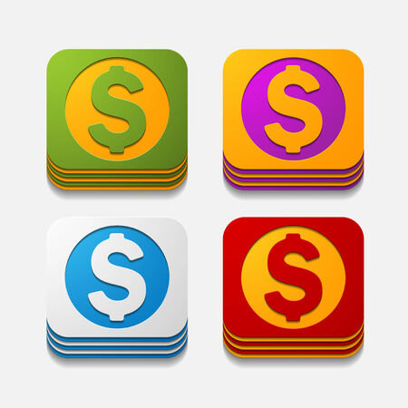 square button: money Vector
