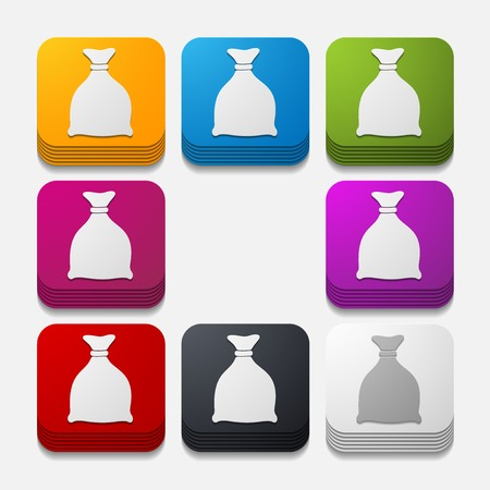 burlap bag: square button: sack Illustration