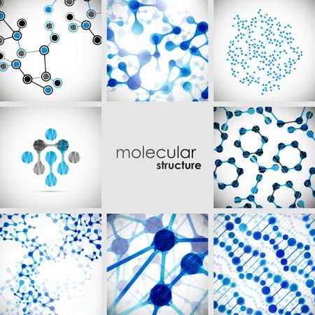 Conjunto de hermosa molécula de la estructura del ADN Ilustración de vector