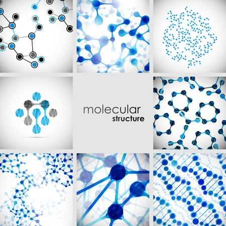 molecule background: Set of beautiful structure DNA molecule