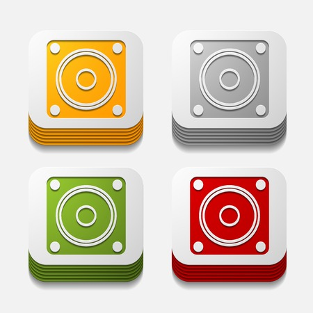 sounding: square button: dynamic Illustration