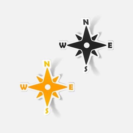 realistische ontwerp element: kompas Stock Illustratie