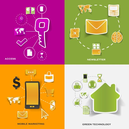 Set of modern stickers. Concept of access, newsletter, mobile marketing, green technology. Vector eps10 illustration Vector