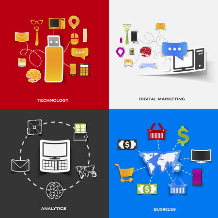 Set of modern stickers. Concept of technology, digital marketing, analytics, business. Vector eps10 illustration Vector