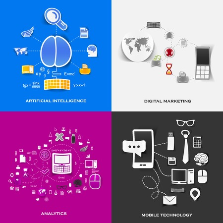 Set of modern stickers. Concept of artificial intelligence, digital marketing, analytics, mobile technology. Vector eps10 illustration Illustration