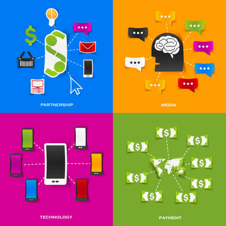 Set of modern stickers. Concept of partnership, media, technology, payment. Vector eps10 illustration Vector