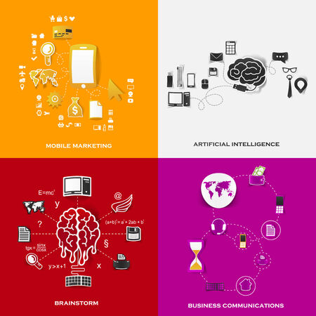Set of modern stickers. Concept of mobile marketing, artificial intelligence, brainstorm, business communications. Vector eps10 illustration Vector