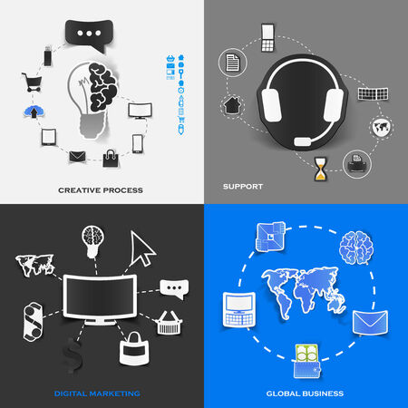 Set of modern stickers. Concept of creative process, support, digital marketing, global business. Vector eps10 illustration Vector