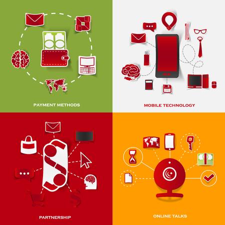 Set of modern stickers. Concept of payment methods, mobile technology, partnership, online talks. Vector eps10 illustration Vector