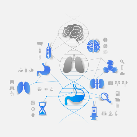 dna helix: DNA helix with medical icons Illustration