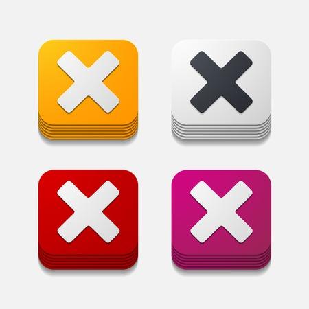 perpendicular: square button: cross Illustration
