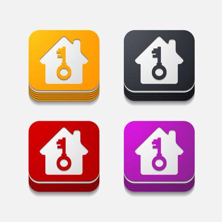 vierkante knop: huis