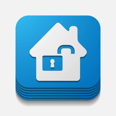 parapet wall: square button: house Illustration