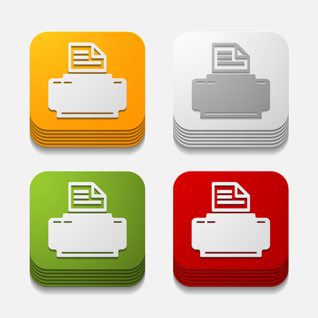 copy machine: Square button in modern style Illustration