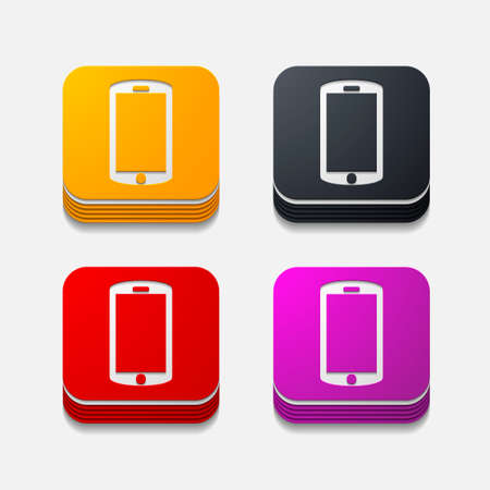 buzzer: Square button in modern style Illustration