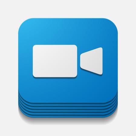 vierkante knop: video Stock Illustratie