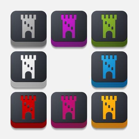 square button: fortress Vector