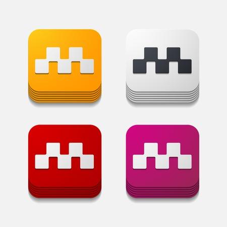 square button: taxi Vector