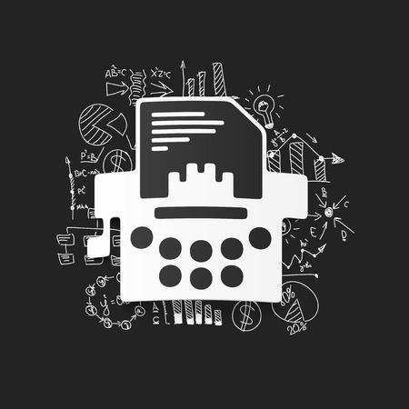 Drawing business formulas: typewriter Stock Vector - 29258236