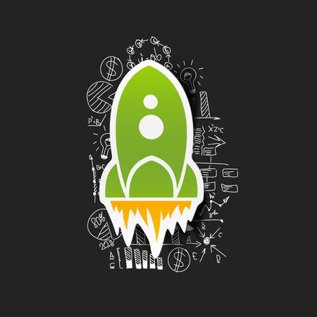 Drawing business formulas: rocket Vector