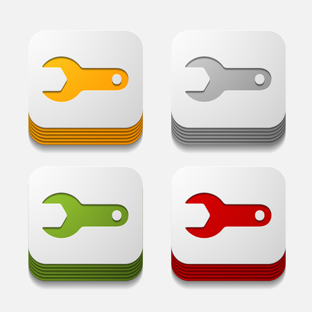 unscrew: square button: wrench Illustration