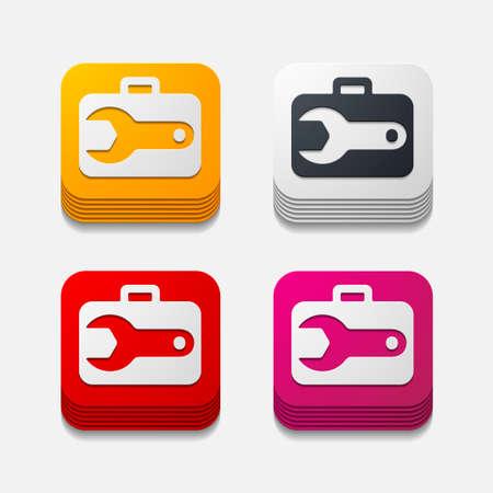 unscrew: square button: wrench Illustration