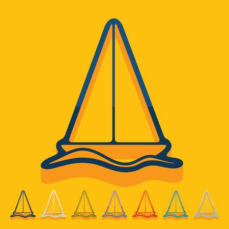 telephone mast: Flat design: sailboat Illustration