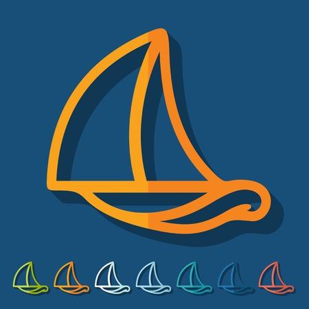keel: Flat design: sailboat Illustration