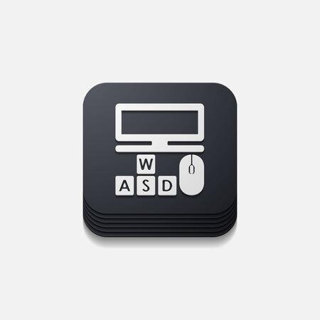 square button: computer Vector