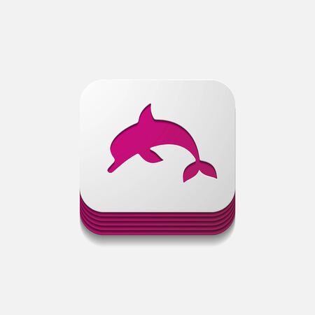 viviparous: square button: dolphin Illustration