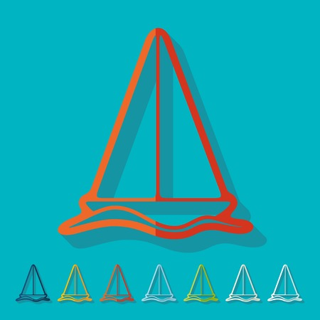 telephone mast: Flat design: sailboat Illustration