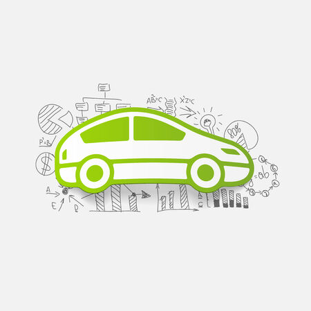 inventor: Drawing business formulas: car Illustration