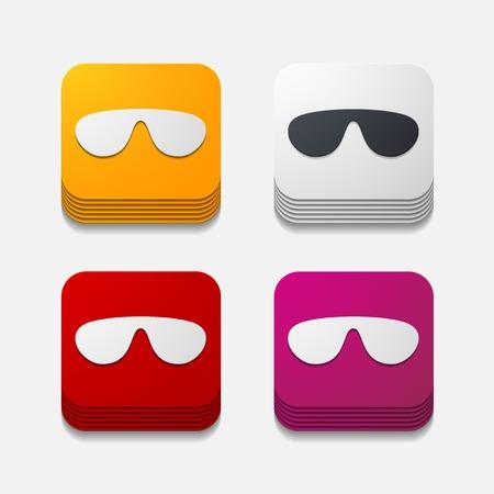 miopia: pulsante quadrato: occhiali da sole Vettoriali