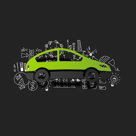 Tekening zakelijke formules: auto Stock Illustratie