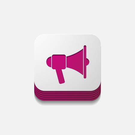 decibel: square button: megaphone