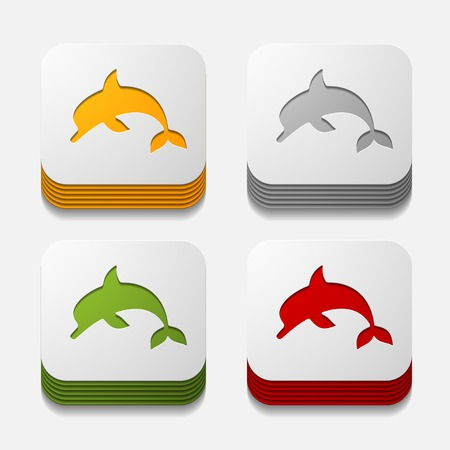 viviparous: square button: dolphin Illustration