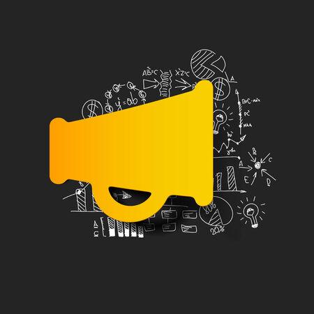Drawing business formulas: megaphone Vector
