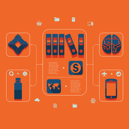 Set of flat icons. Business concept Vector