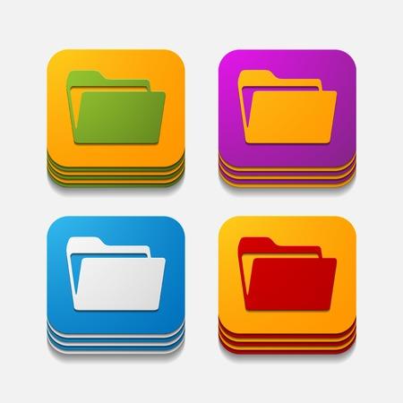 square button: folder Stock Vector - 29818446