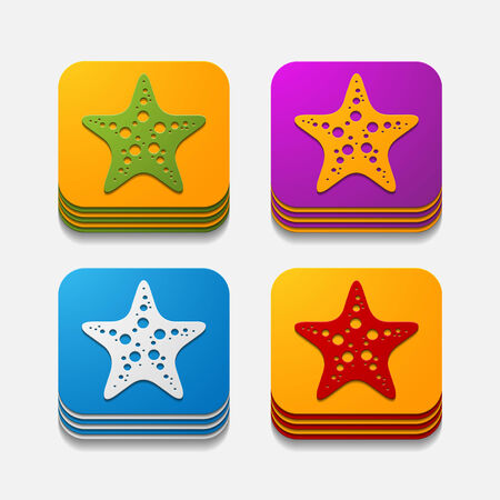 starlike: square button: starfish