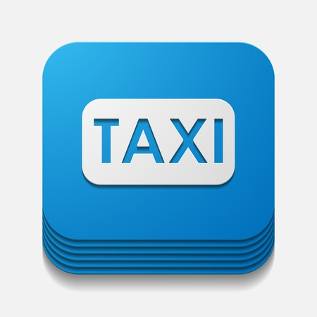 botón cuadrado: Taxi Vectores