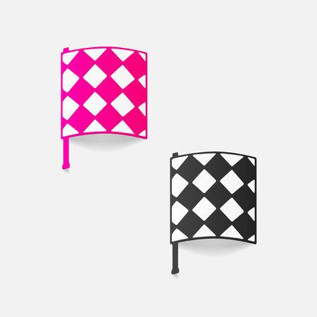offside: realistic design element: linesman flag Illustration