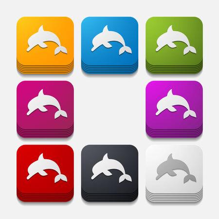 square button: dolphin Vector