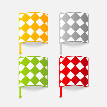 corner kick: realistic design element: linesman flag Illustration